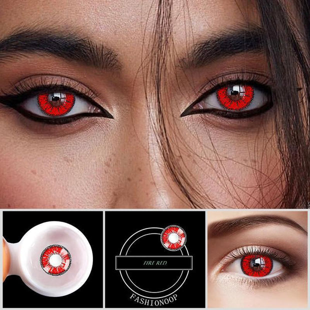 Eye Circle Lens Fire Red Colored Contact Lenses - fameou