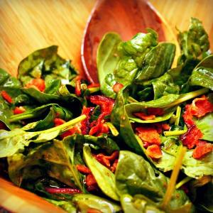 Aged Maple Balsamic Bacon Vinaigrette Over Wilted Baby Spinach - EVOO & Vin