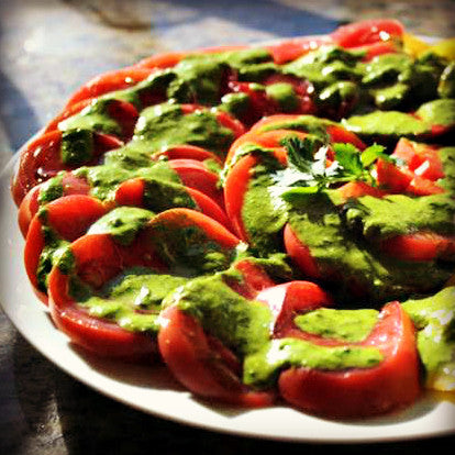 Heirloom Tomatoes with Cilantro Pesto - EVOO & Vin