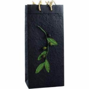 Double Bottle Gift Bag Black Branch - EVOO & Vin