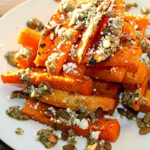 Roasted Sweet Potatoes with Sage & Toasted Pumpkin Seed Pesto and Ricotta Salata - EVOO & Vin
