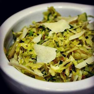 Shaved Brussles Sprouts with Melgarejo Frantoio Extra Virgin Olive Oil, Lemon Fused Olive Oil & Parmesan Cheese - EVOO & Vin