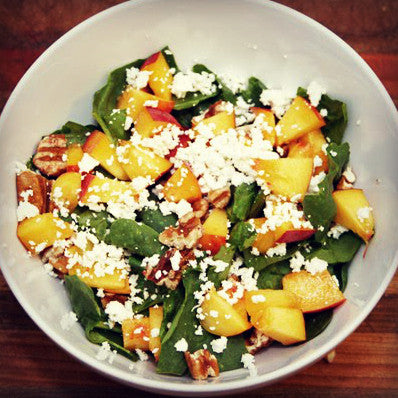 Spinach Salad with Ripe Peach Balsamic Vinaigrette - EVOO & Vin