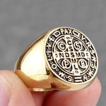 Knights Templar Ring Order of Saint Benedict Golden