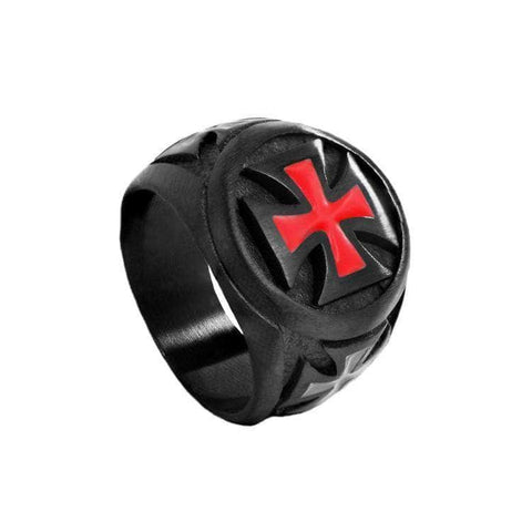 Knights Templar Ring Red Cross