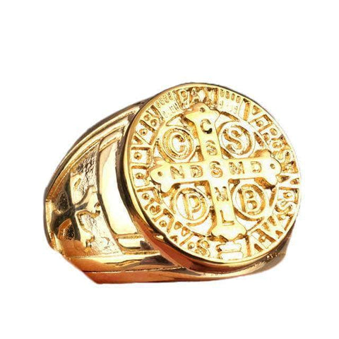 Knights Templar Ring Saint Benedict Gold