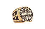 Knights Templar Ring Saint Benedict Golden