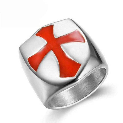 Knights Templar Ring Templar Cross (Silver)