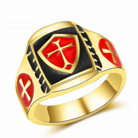 Knights Templar Ring Temple Cross (Gold)