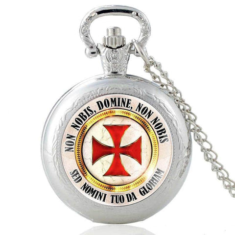 Templar Pocket Watch Non Nobis Domine (Silver)