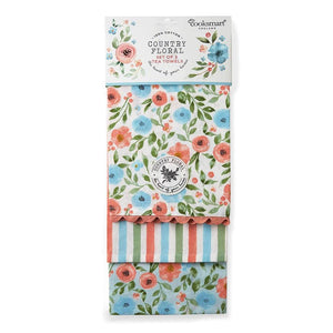 Tea Towels Pack of 3 - Country Floral-Homeware-City Look-Thursford Enterprises Ltd.