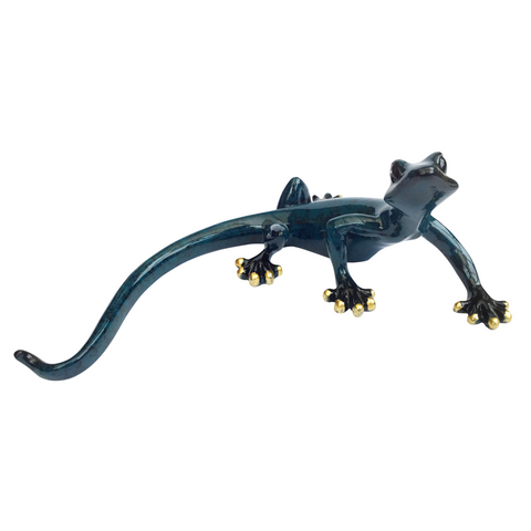 Funky Gecko-Ornament-Aljec-Blue-Small-Thursford Enterprises Ltd.