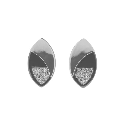 Rhodium & Gunmetal Stud Earrings-Jewellery-Indulgence-Thursford Enterprises Ltd.