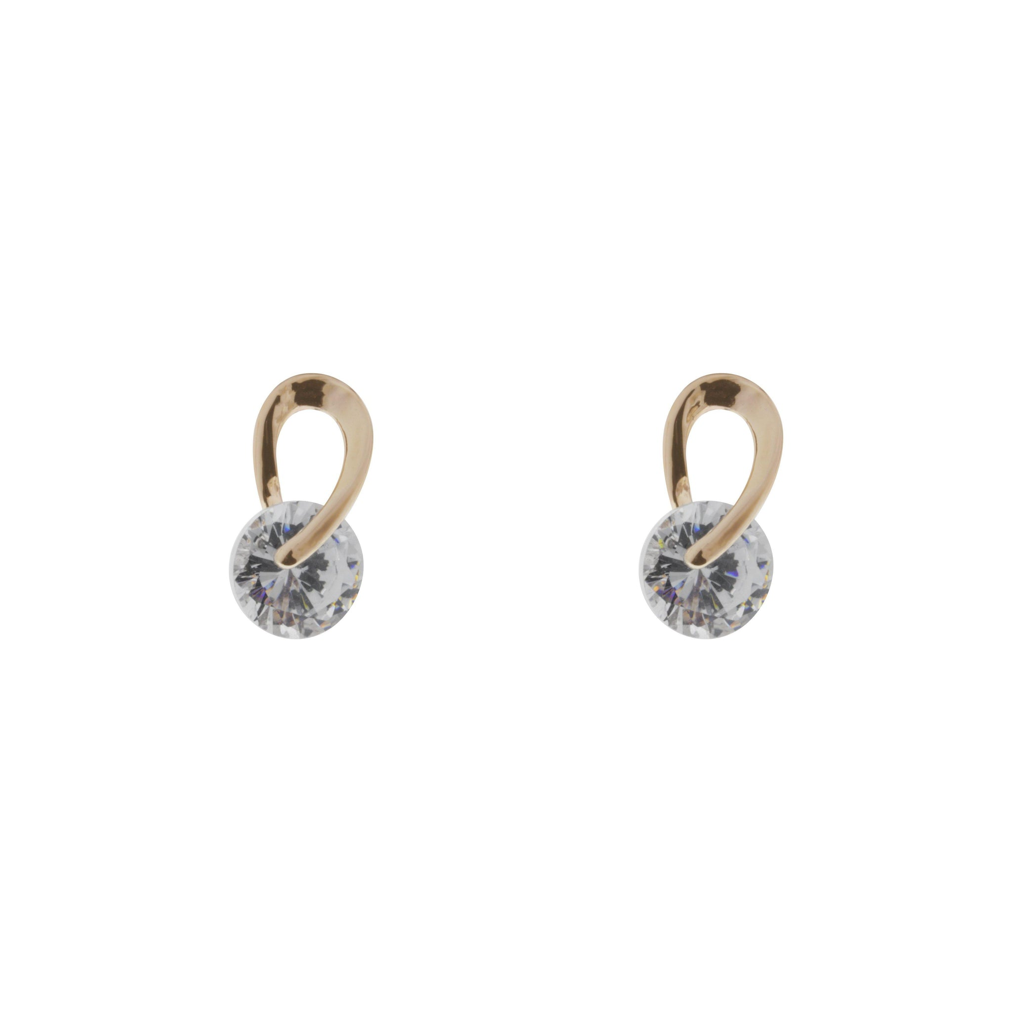 Rose Gold Cubic Zirconia Twist Earrings-Jewellery-Indulgence-Thursford Enterprises Ltd.