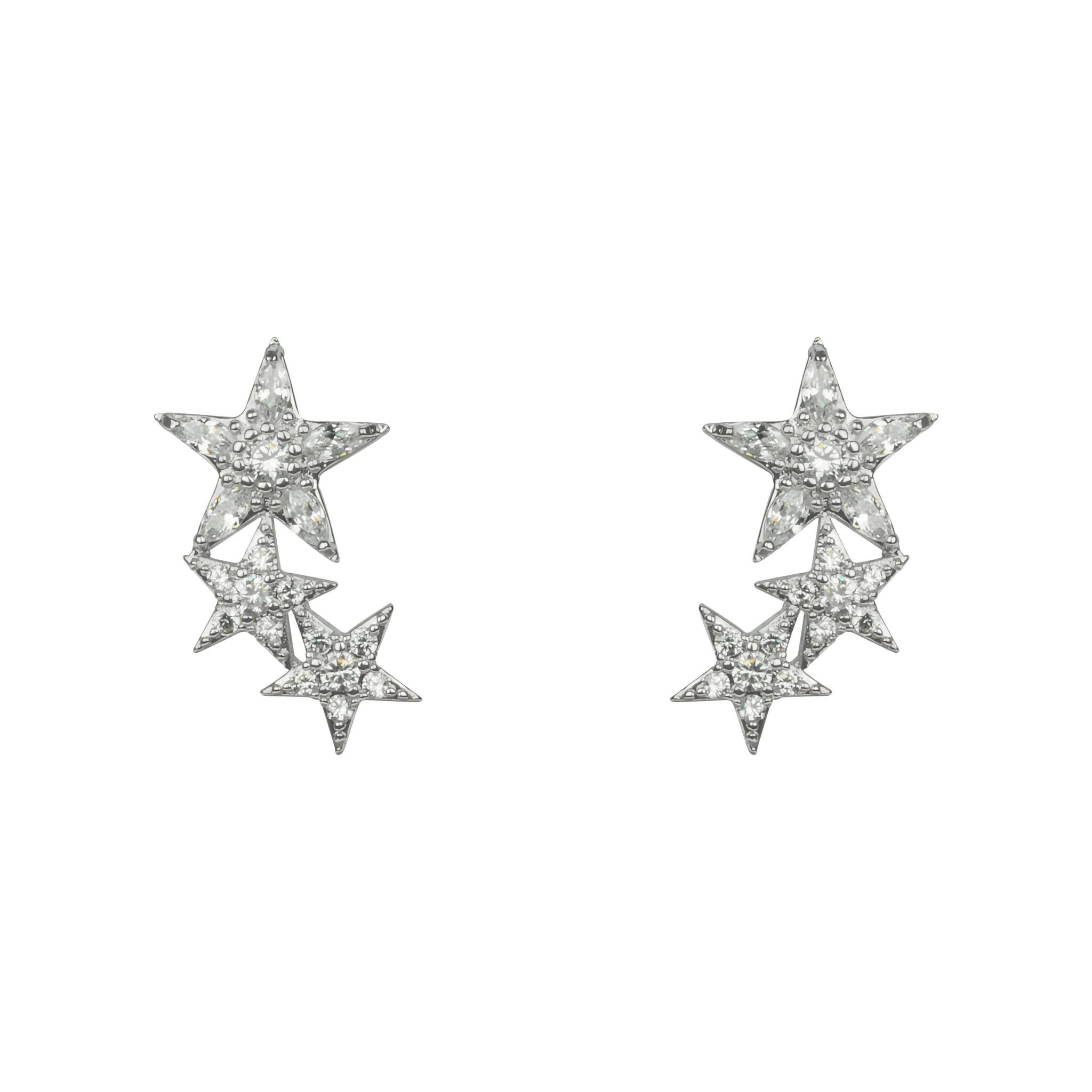 Rhodium & Cubic Zirconia Stars Stud Earrings-Jewellery-Indulgence-Thursford Enterprises Ltd.