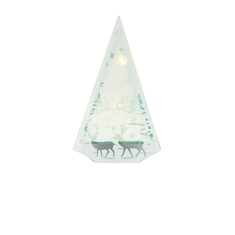 Lit Glass Decoration with Deer & Trees Scene-Ornament-Trans-Continental-Thursford Enterprises Ltd.