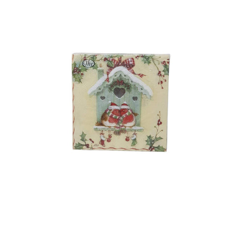 Paper Napkins Happy Christmas Birdhouse-Homeware-Ideal Home Range-Thursford Enterprises Ltd.