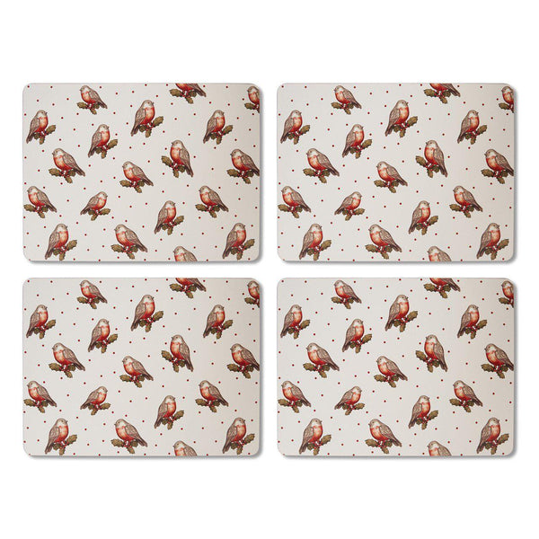Placemats Pack 4 - Red Red Robin-Homeware-City Look-Thursford Enterprises Ltd.