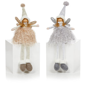 Angel sitting with long legs-Christmas Decoration-Premier-Gold-Thursford Enterprises Ltd.