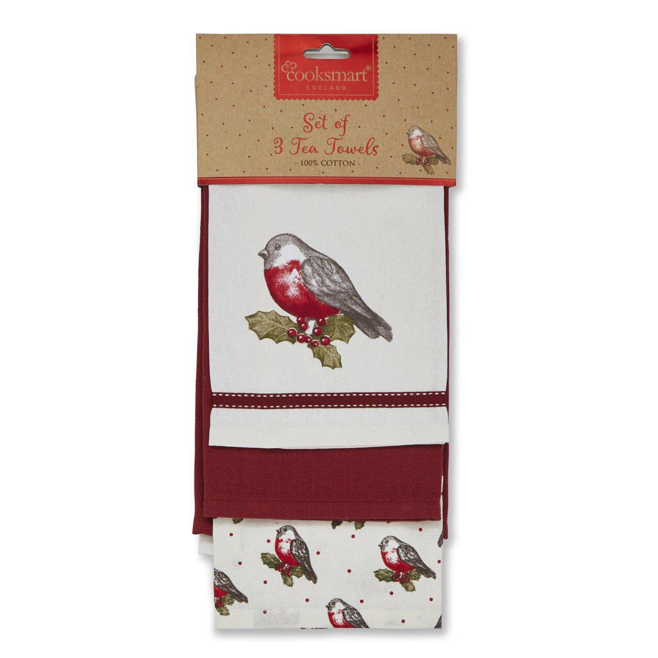 Tea Towels Pack of 3 - Red Red Robin-Homeware-City Look-Thursford Enterprises Ltd.