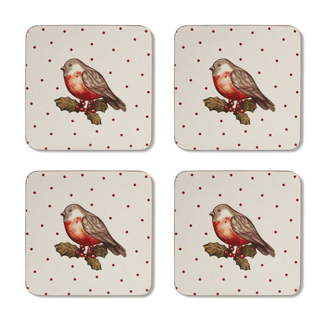 Coasters Pack 4 Red Red Robin-Homeware-City Look-Thursford Enterprises Ltd.