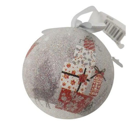 Christmas Bauble Santa/Sleigh/Rooftop Frosted-Christmas Decoration-Premier-Thursford Enterprises Ltd.