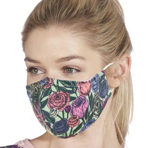 Face Cover Green Peonies-Accessory-Eco-Chic-Thursford Enterprises Ltd.