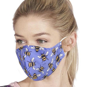 Face Cover Bees Blue-Accessory-Eco-Chic-Thursford Enterprises Ltd.