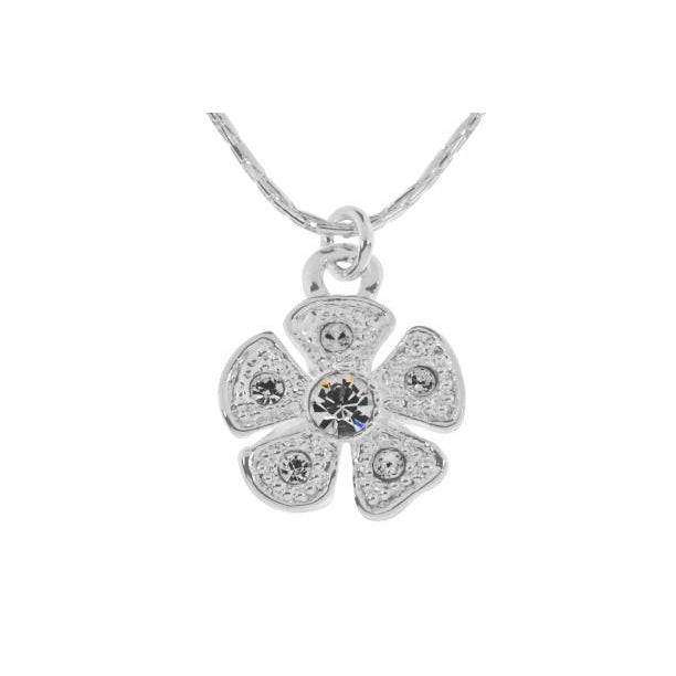Silver Flower Crystal Necklace-Jewellery-Indulgence-Thursford Enterprises Ltd.