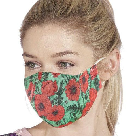 Face Cover Green Poppies-Accessory-Eco-Chic-Thursford Enterprises Ltd.