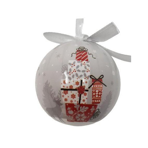 Christmas Bauble Santa/Sleigh/Rooftop Glossy-Christmas Decoration-Premier-Thursford Enterprises Ltd.