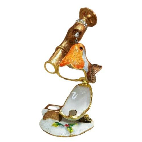 Treasured Trinket Robin drinking from tap-Christmas Decoration-Widdop-Thursford Enterprises Ltd.