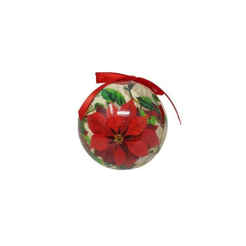 Christmas Bauble Poinsettia Decoupage-Christmas Decoration-Premier-Thursford Enterprises Ltd.