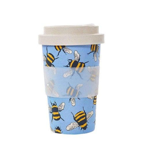 Bamboo Travel Cup Bees-Homeware-Eco-Chic-Blue-Thursford Enterprises Ltd.
