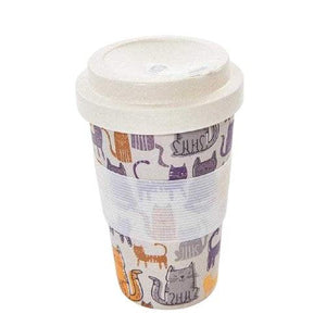 Bamboo Travel Cup Funky Cat-Homeware-Eco-Chic-Thursford Enterprises Ltd.