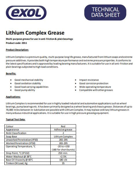 Exol Lithium Complex Grease