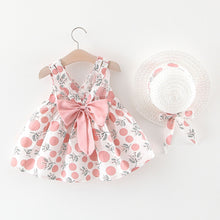 Load image into Gallery viewer, Fantastic patterned dress with matching bow and hat