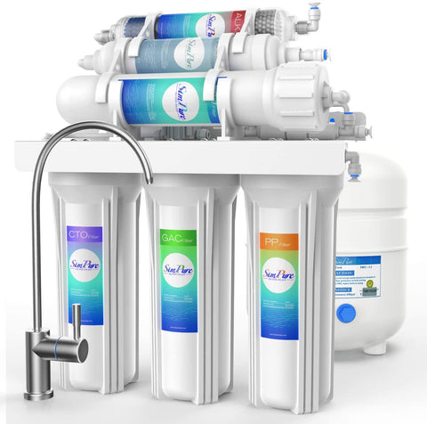 simpure t1 hideaway reverse osmosis water filtration system 6-stage alkaline