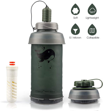 Collapsible Carbon Filter Water Bottle | 0.1 Microns Filter