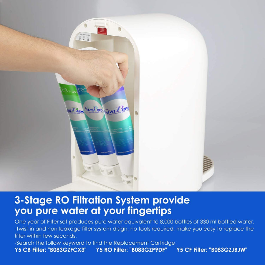 Y5 RO System Water Filter, | 0.0001 Micron | 3-Stage Filtration