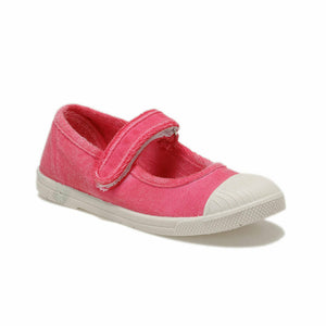 Girl's Velcro Strap Fuchsia Slip-On Shoes
