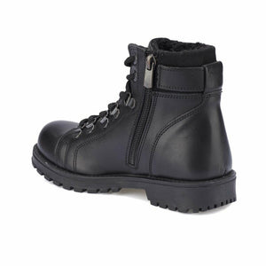 Black Boys' Leather Worker Boots