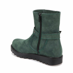 Girl's Zipped Green Boots