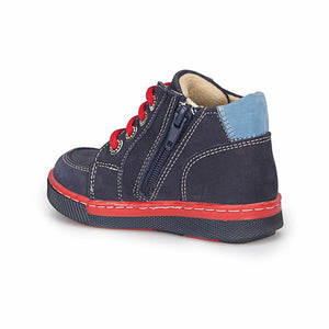 Boy's Navy Blue Leather Sneakers