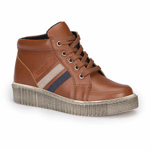 Boy's Lace-up Brown Sneakers