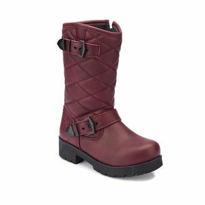 Girl's Claret Red Basic Boots