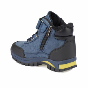 Boy's Navy Blue Yellow Boots