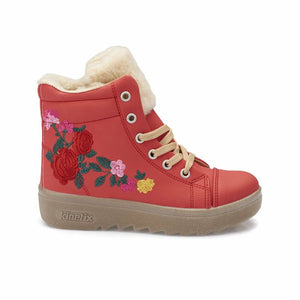 Girl's Lace-up Vermilion Boots
