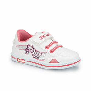 Girl's Velcro Strap Lace-up White Sneakers