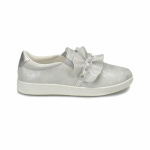 Girl's Silver Slip On Loafers